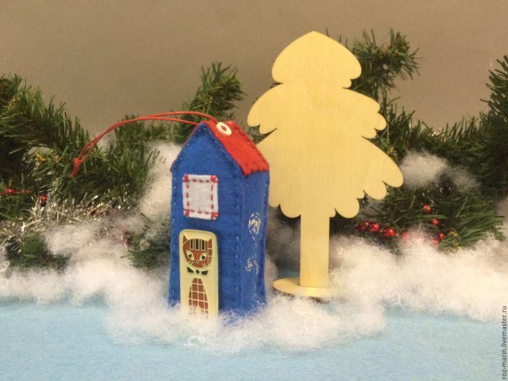 Купить Домик из фетра. Новогоднее украшение, игрушка. - гирлянда новогодняя, новогодний интерьер, флажки новогодние