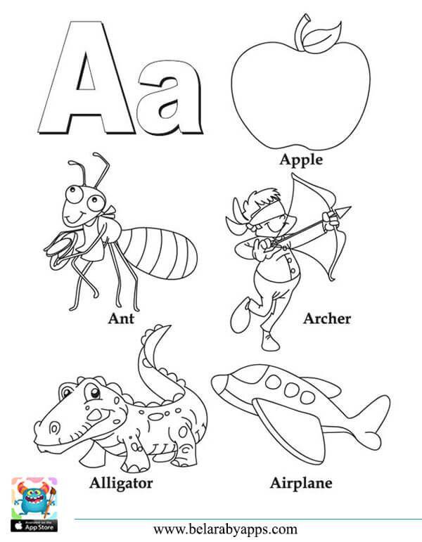 اوراق عمل تعليم الحروف الانجليزية مع الكلمات للتلوين و الطباعة بالعربي نتعلم Alphabet Coloring Pages Abc Coloring Letter A Coloring Pages