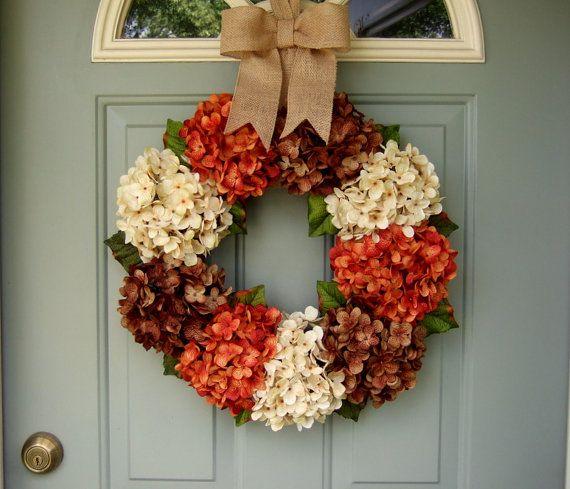 Fall Wreath Fall Hydrangea Wreath Fall Hydrangea Door