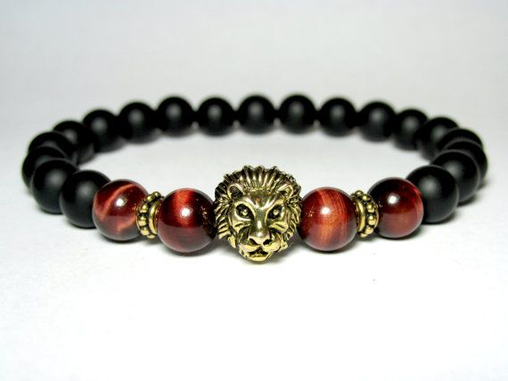 Mens Lion Bracelet Red Tiger Eye Bracelet Matte by LampJewellery