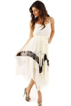 Stylistic Spaghetti Scoop Neck for Fluttering Graduation Dress with Lace-bedecked Skirt