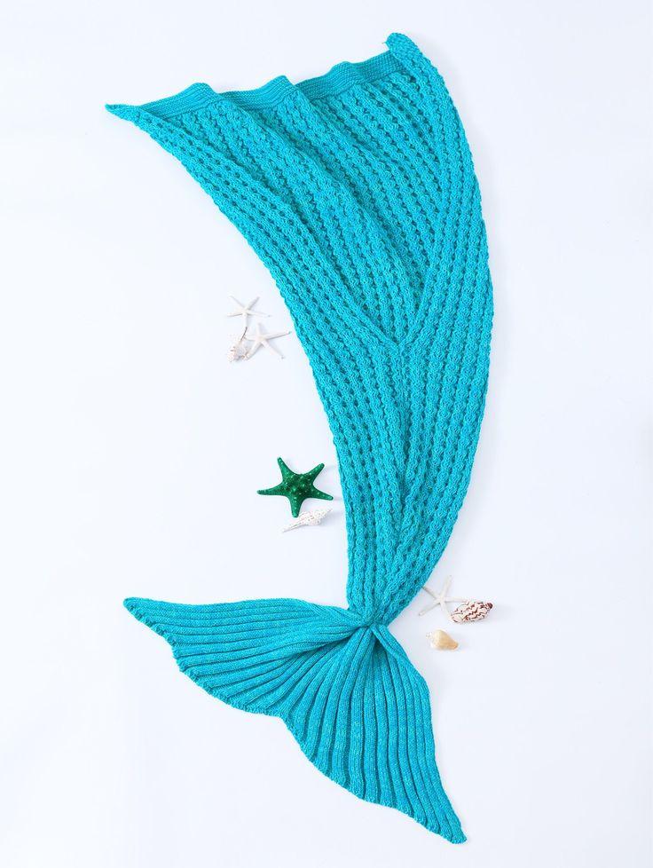 Simple Style Blue Crochet Knitted Mermaid Tail Design Blanket For Children