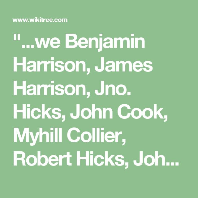"""""""...we Benjamin Harrison, James Harrison, Jno. Hicks, John Cook, Myhill Collier, Robert Hicks, John Barner, Hannah Reese, children of Benjamin Harrison, deceased late of the County of Brunswick and Robert Hicks, John Lett Cook, John Hicks, Miles Collier, & John Barner are those who married to the daughters of the said Benja. Harrison, dec'd. ... Lucy Barner, the daughter of John Barner ... this ____ day of April 1790. Signed by Benja. Harrison, James Harrison, John Hicks, John L. Cook…"""