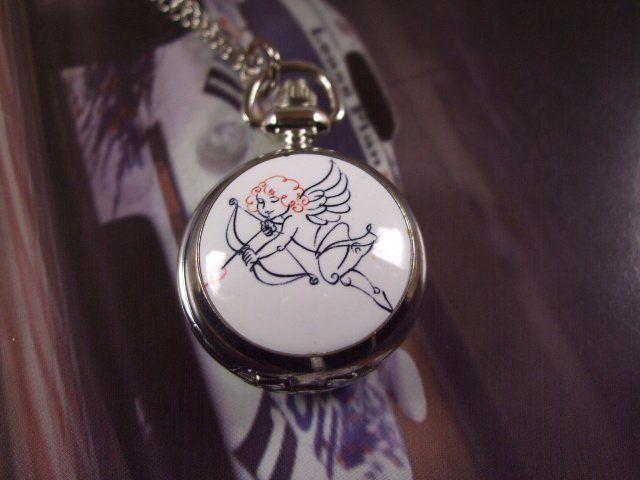 Дамы мужские антикварный Mini карманные часы амур ангел влюбленность медальон ожерелье кулон wp247