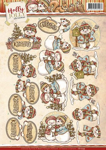 Card Deco - 3D-knipvel - Yvonne Creations - Holly Jolly - Snowmen