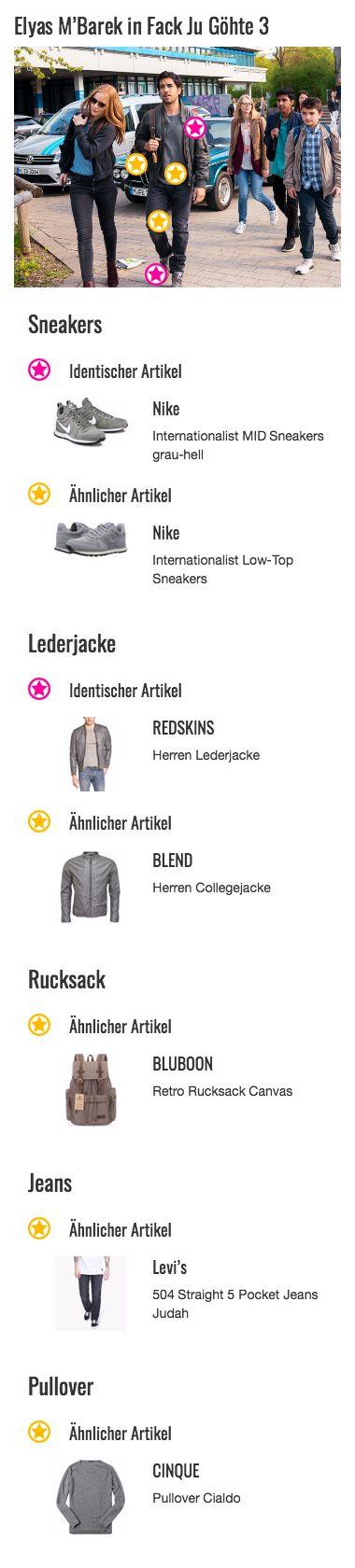 """Zeki Müller (Elyas M'Barek) sieht man bereits an seinem Style an, dass es sich bei ihm nicht um einen typischen Lehrer der Goethe-Gesamtschule handelt. Anders als seine Kollegen trägt er zur Arbeit nämlich dieselben Outfits wie in seiner Freizeit. Das bedeutet, dass lässige Lederjacken und Sneakers an der Tagesordnung stehen. In diesem Look findet sich daher auch die Lederjacke aus Teil 2 der Erfolgsreihe """"Fack Ju Göhte"""" wieder. Das Modell ist von REDSKINS und hat einen Kragen im…"""