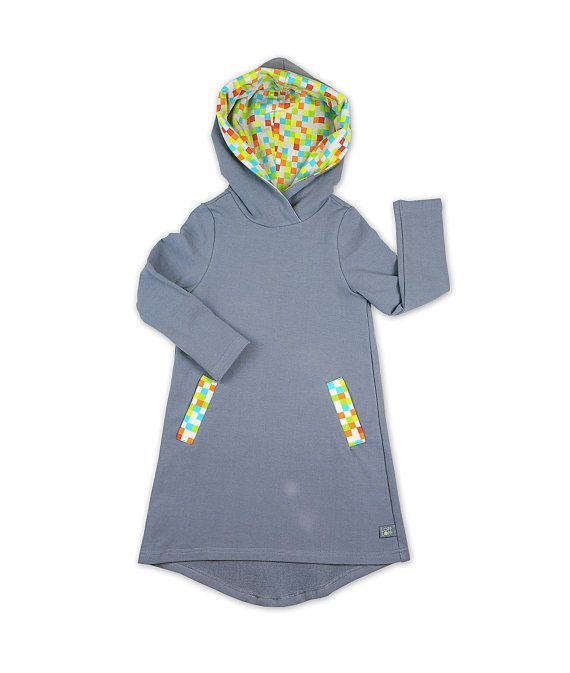 Gray toddler dress. Hooded Girl toddler Dress with
