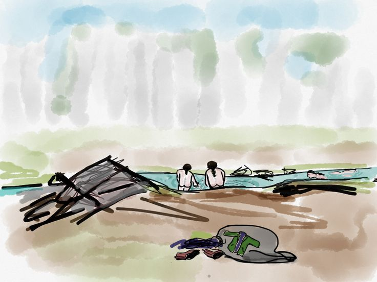 About wild swimming, dwarves and ipad drawings, sort story on my blog | www.lotjemeijknec... #ipaddrawing #ipadillustration #hobbit #hobbitdwarves #scotland #landscape #wildswimming