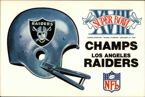 Los Angeles Raiders Super Bowl XVIII Champs Commemorative card for the LA Raiders, winners of Super Bowl XVIII, January 22, 1984