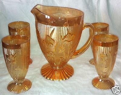 Iris Herringbone Pitcher w 4 Tumblers Set Jeannette Glass Marigold Irisdescent | eBay
