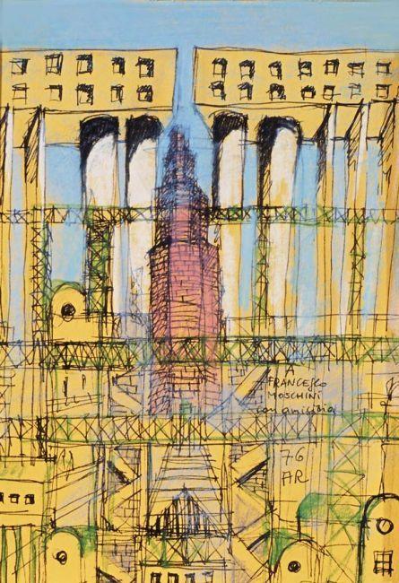 """#inspiration #architecture #sketch #drawing Aldo Rossi, Disegno con torre Gallaratese ed altri edifici, 1976. Dedica """"a Francesco Moschini con amicizia"""""""