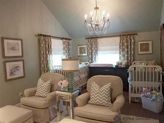 My FAVORITE nursery! Pretty positive this will be the inspiration for ours :-) <3  Before & After: Twin's Nursery Revealed! @ A Well Dressed Home