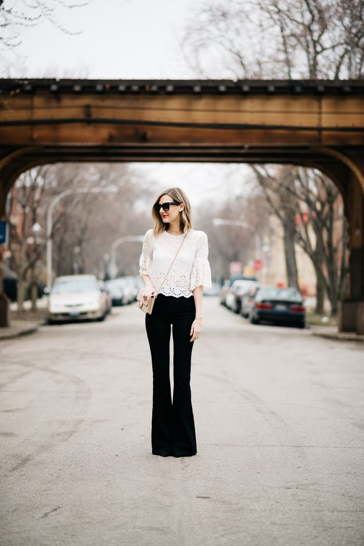 black flares white top outfit