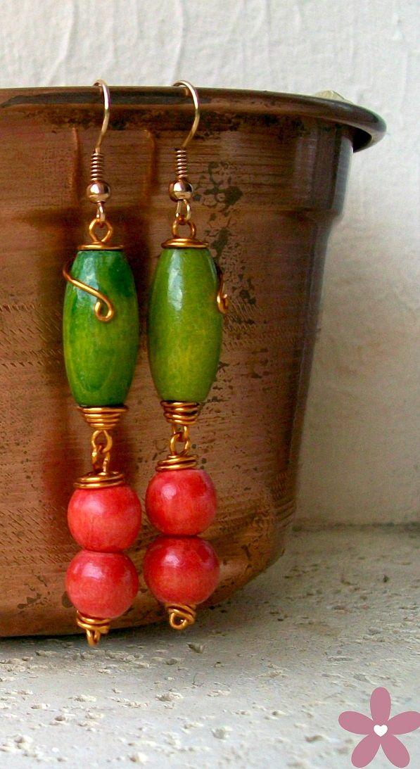orecchini in legno e rame