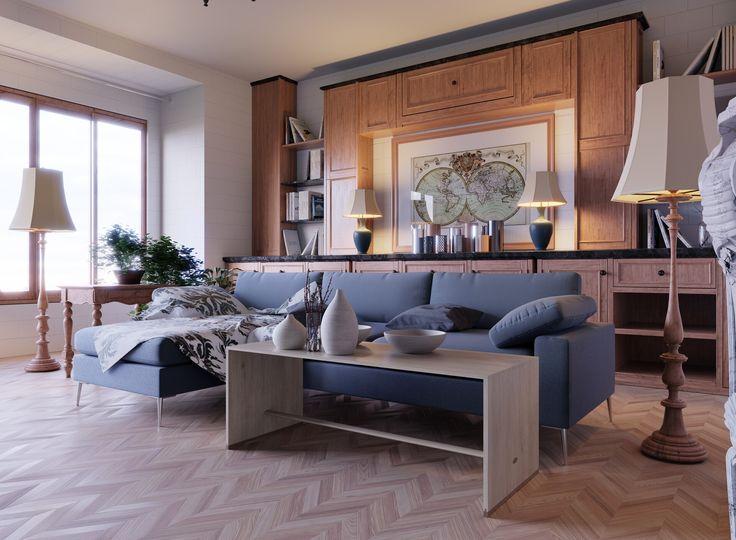 Wohnzimmer blaues sofa, wohnzimmer Ideen, wohnzimmer kamin ...