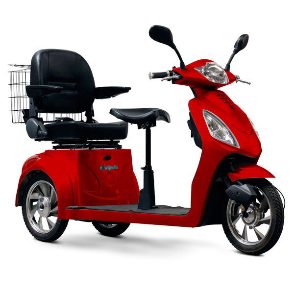 E Wheels Ew 66 3 Wheel 2 Person Electric Senior Mobility Scooter Red Motorized Scooters