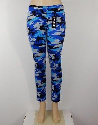 Just Cozy Size 12-20 Mink Fur Lined Low Rise Blue Camo Leggings Spandex Pants