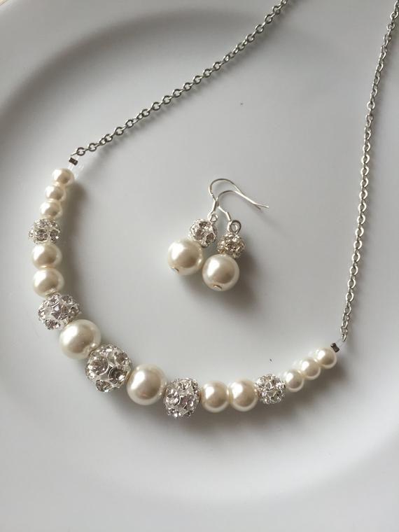 Elfenbein Perlenschmuck, Elfenbein Perlenkette, Hochzeitsschmuck für Bräute, Hochzeitsschmuck-Set, Hochzeitsschmuck für Brautjungfern, Braut   – Products