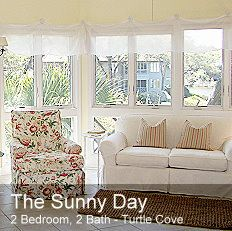 """The """"Sunny Day"""" at Turtle Cove Kiawah Island Vacation Rental 2-Bedroom, 2-Bath, 950 sq. ft. 2nd Floor Villa 1 Queen Bed, 2 Twin Beds, 2 Inflatable Aero Beds Lagoon Views 7-minute Walk to Beach High-Speed Wireless Internet Accommodates up to 4 Adults, 2 Children No Smoking, No Pets KiawahIslandGetaways.com"""