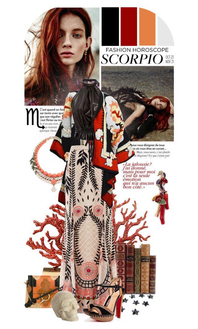 """★ 122: Scorpio [fashion horoscope]"" by yuuurei ❤ liked on Polyvore featuring L'Objet, Chloé, Anabela Chan, Ellen Conde, Michaele Vollbracht, Temperley London, Christian Louboutin, Rodarte, Et Al Designs and Horoscope"