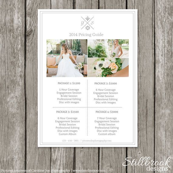 Photography Pricing List Template by StillbrookDesigns, $15.00