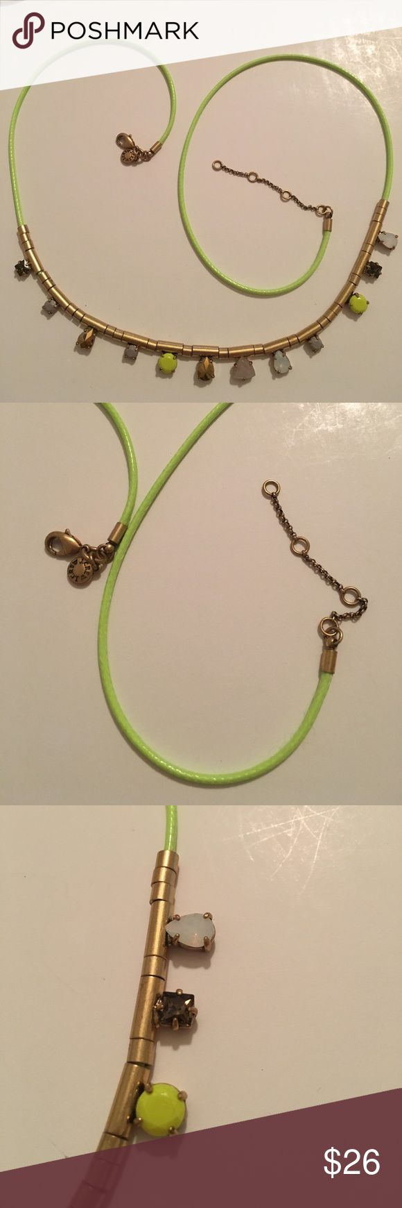 J crew necklace J crew neon green with crystals J. Crew Jewelry Necklaces