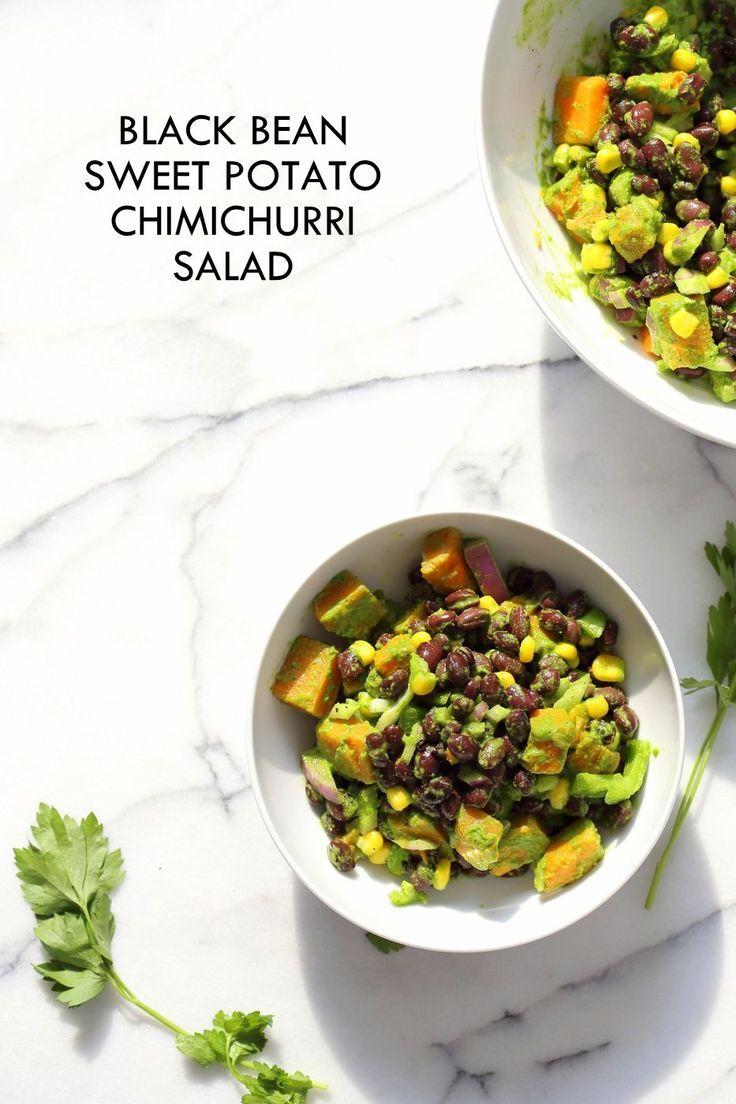 30 Minute Summer Bla  30 Minute Summer Black Bean Salad with Sweet Potato, Corn, Peppers and Chimichurri Dressing. Vegan Gluten-free Nut-free Soy-free Recipe |  VeganRicha.com  https://www.pinterest.com/pin/111675265743337720/