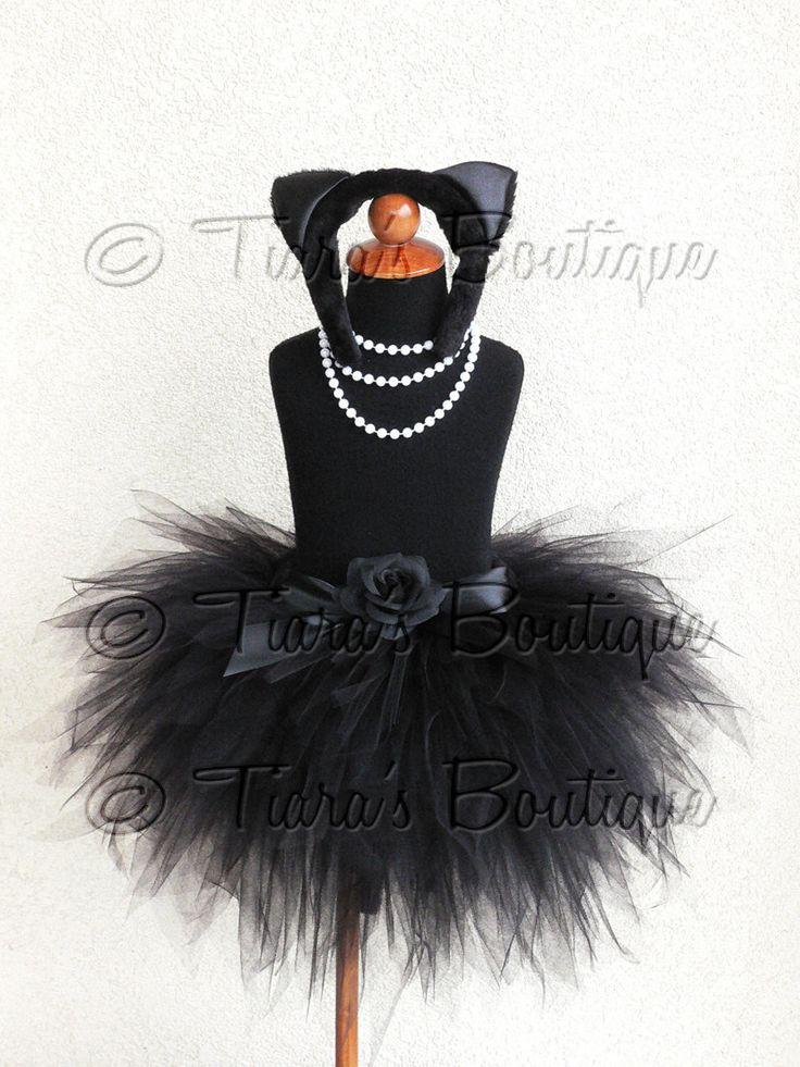 "Black Cat Tutu Halloween Costume - Obsidian Kitty - Black Custom Sewn 3 Tiered 15"" Pixie Tutu w/ Cat Ears & Tail - Up to size 5T. $68.00, via Etsy."