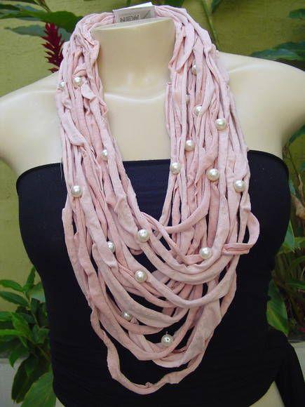 Colar tons de rosa com pérolas | NEW WAY | Elo7
