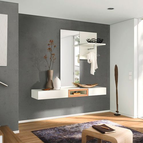 Contemporary entrance cabinet / wall-mounted / oak / with mirror NEO  hülsta