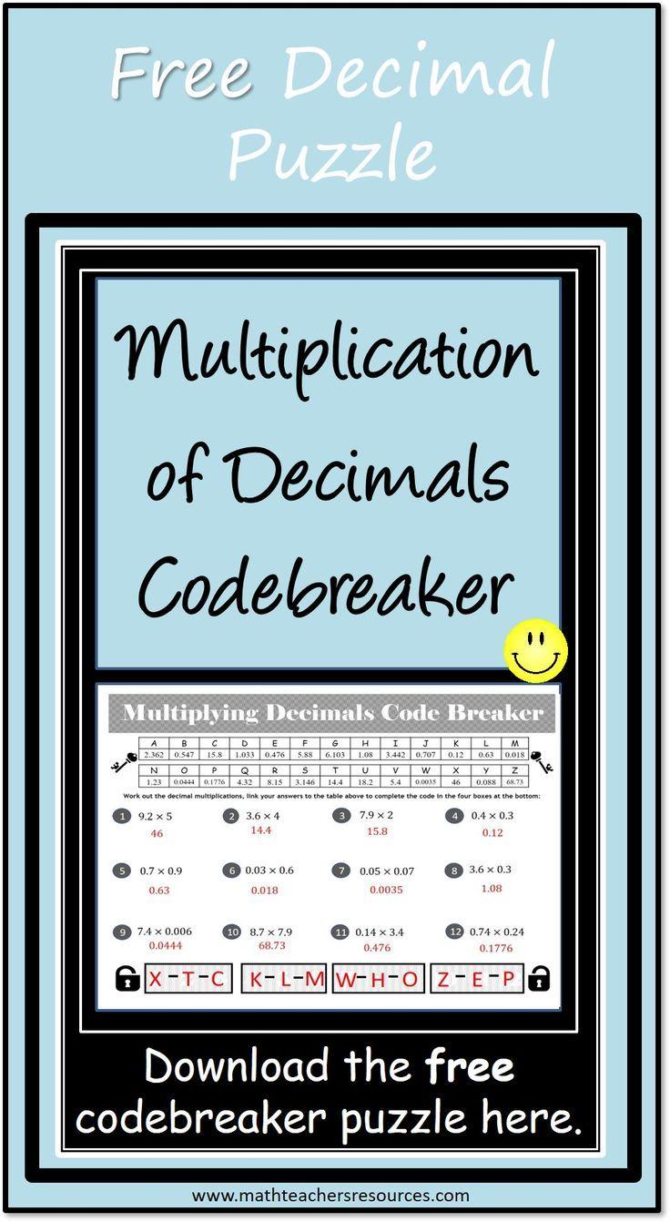 Multiplying Decimals Code Breaker Activity Free Make Multiplying Decimals Fun With This Code Breaker Game Stude Multiplying Decimals Decimals Fun Free Math [ 1342 x 736 Pixel ]