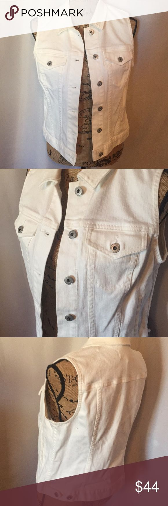 """White Denim Vest NWTags New white button-down denim vest.  Two- by Vince Camito (Macy's). Size small. Bust measures approx: 36"""".  CM Jackets & Coats Vests"""
