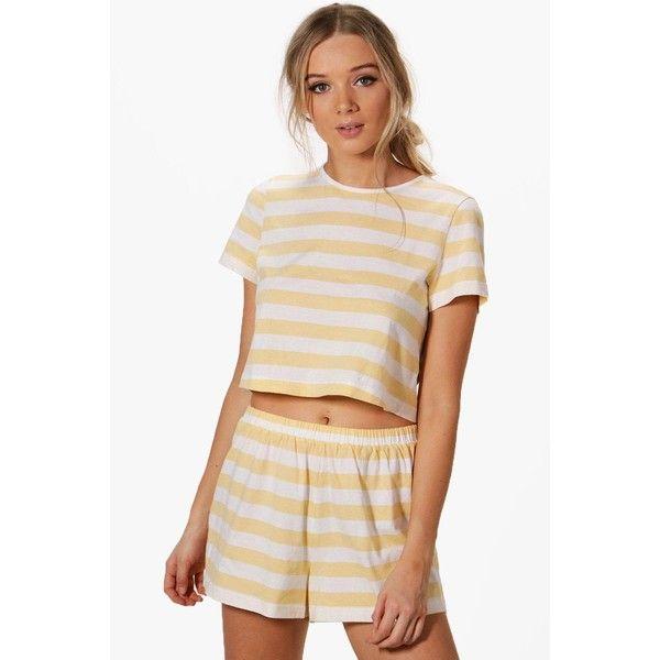 Boohoo Lily Stripe Tee + Short PJ Set ($28) ❤ liked on Polyvore featuring intimates, sleepwear, pajamas, cotton pajamas, cotton pajama set, striped pjs, cotton pyjamas and striped pajama set