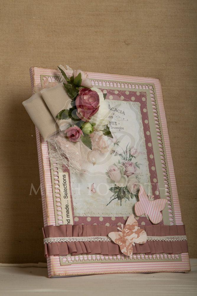 Βιβλίο ευχών χειροποίητο με vintage διακόσμηση
