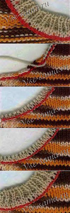 Обработка горловины спицами .