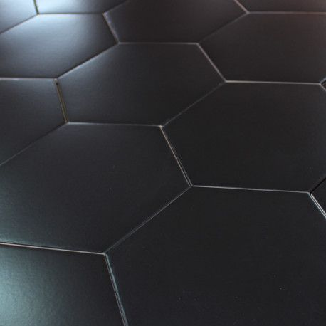 85 best carrelage sol images on pinterest budget - Carrelage hexagonal noir ...