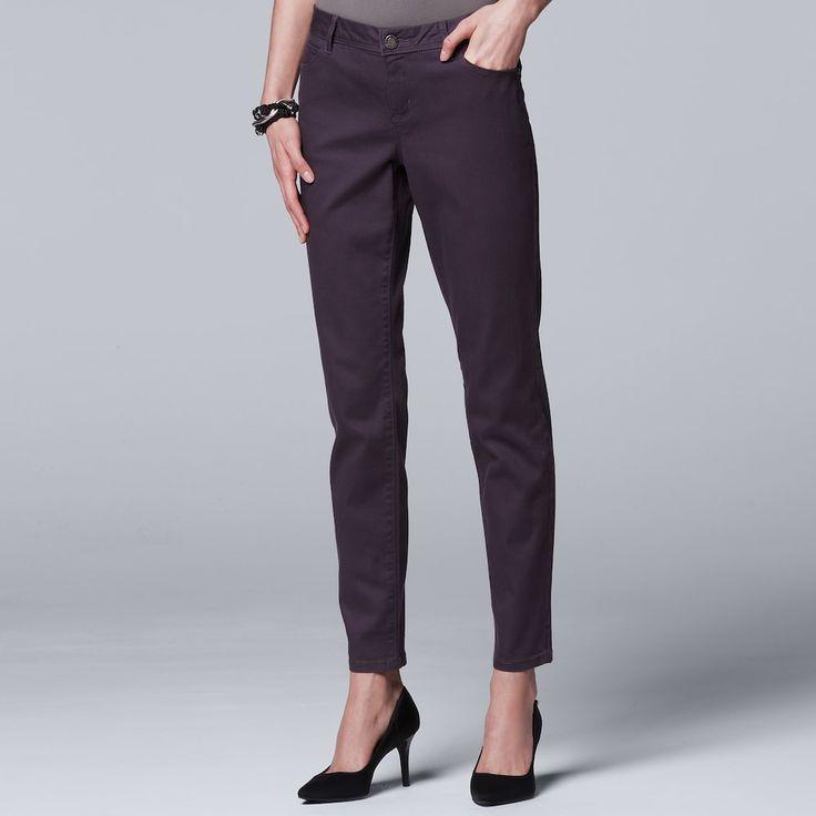 Women's Simply Vera Vera Wang Skinny Jeans, Size: 12 Short, Drk Purple