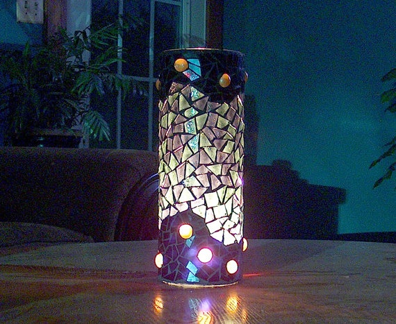 Mosaic Candle Holder Black and Gold with Gentle by BeadedGlass, $58.00