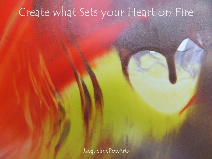 Create what Sets your Heart on Fire, encaustic art by JacquelinePopArts  - Art with a Heart - Valentijn - Valentines Day