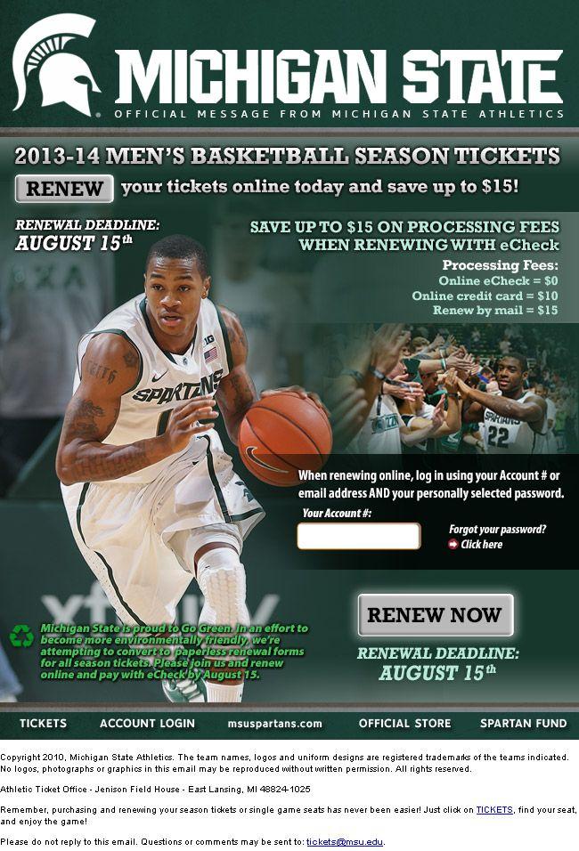 Spartan Men's Basketball - deadline to renew season tickets is August 15th