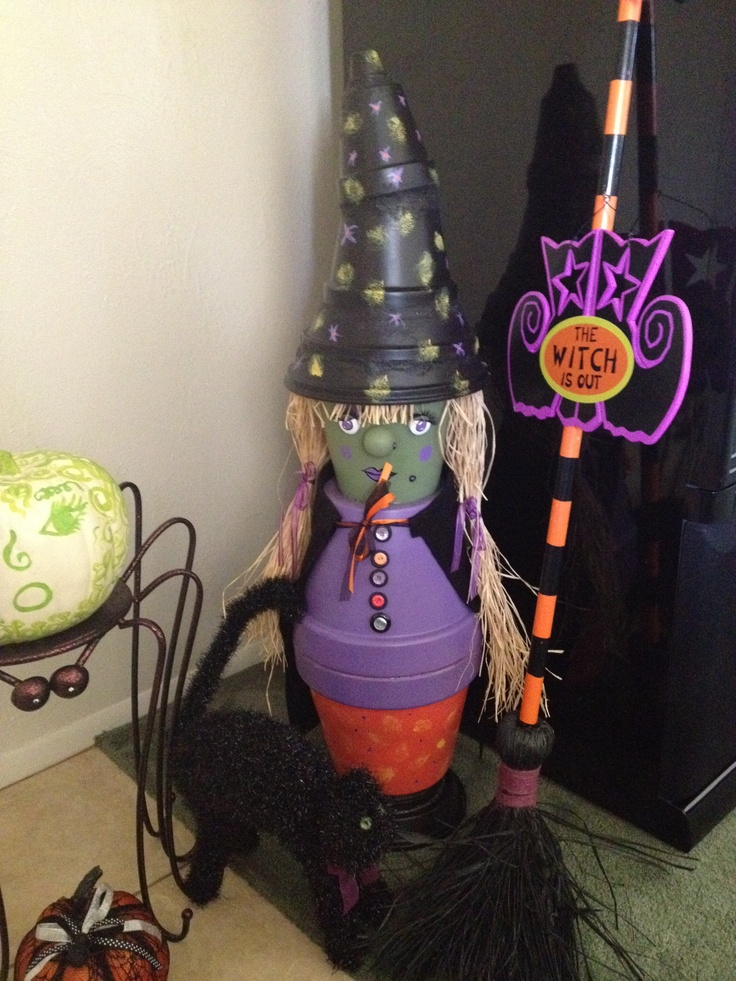 Halloween Clay Pot Witch Holiday Ideas Pinterest
