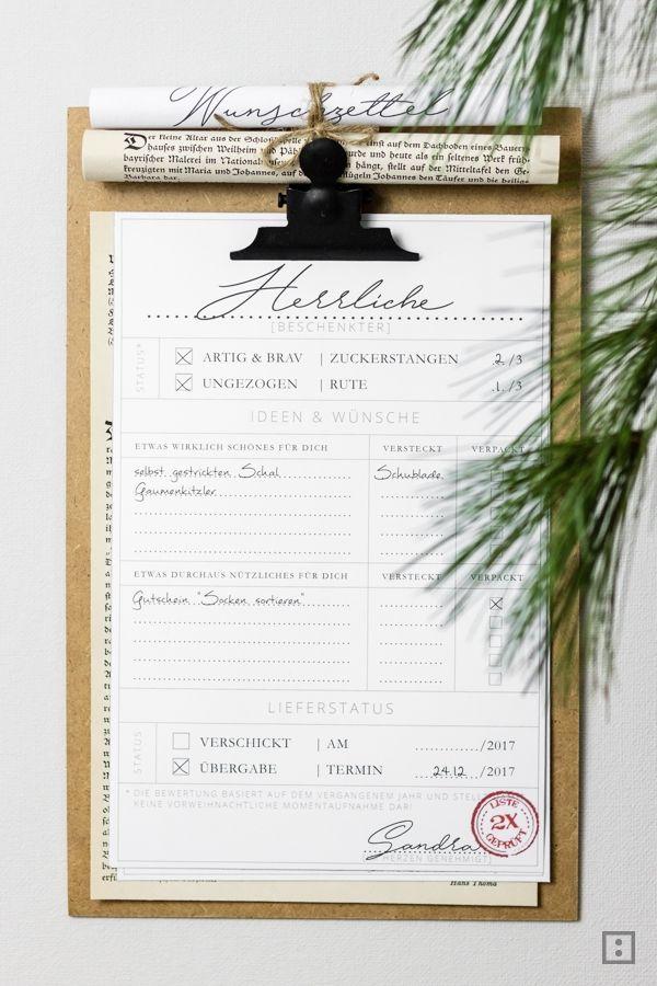 Weihnachtsplaner Geschenkeplaner Geschenkeliste Wunschzettel zum Ausdrucken
