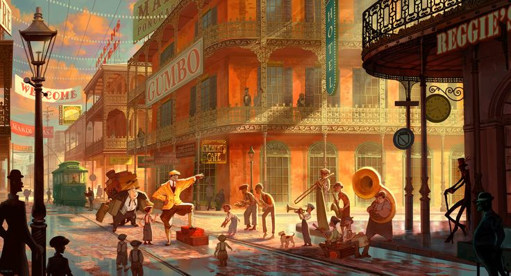 """""""Princess and The Frog"""" New Orleans concept art"""