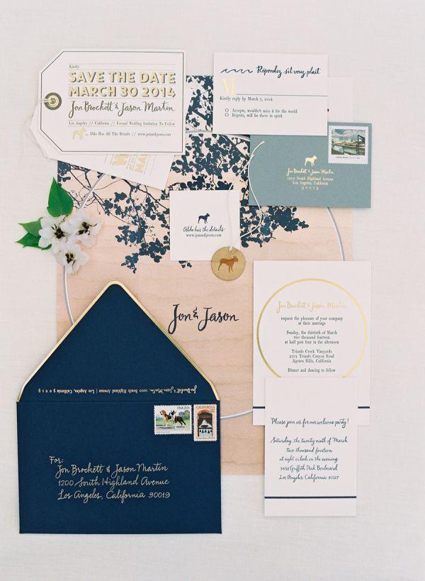 Navy and blush wedding invitations: http://www.stylemepretty.com/2016/04/27/60-of-the-most-unique-wedding-invitations-ever/ Photography: Jose Villa - http://josevilla.com/