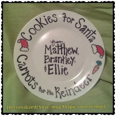 GIFTS THAT SAY WOW - Craft Tips and Cool Ideas: Personalized Cookies for Santa Plate, Santa Mug, and Bestie Mug