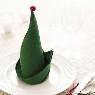 christmas, christmas table setting, elf, elf hat napkin, elf napkin, christmas napkin