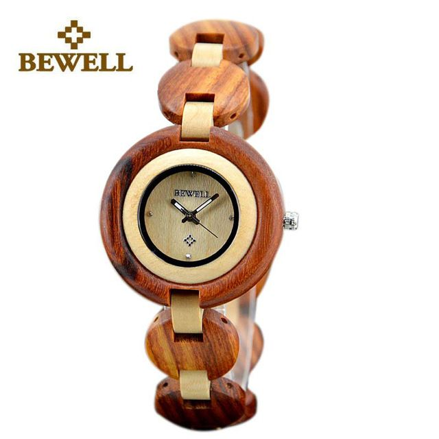 BEWELL Wood Ladies Fashion Watches Wooden Luxury Woman Wrist Watch for Girls Quartz Analog Wristwatch Christmas Gifts Box 010A