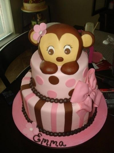 Monkey baby shower cake By YALANTZI on CakeCentral.com    http://www.modern-baby-shower-ideas.com/Monkey-girl-baby-shower.html