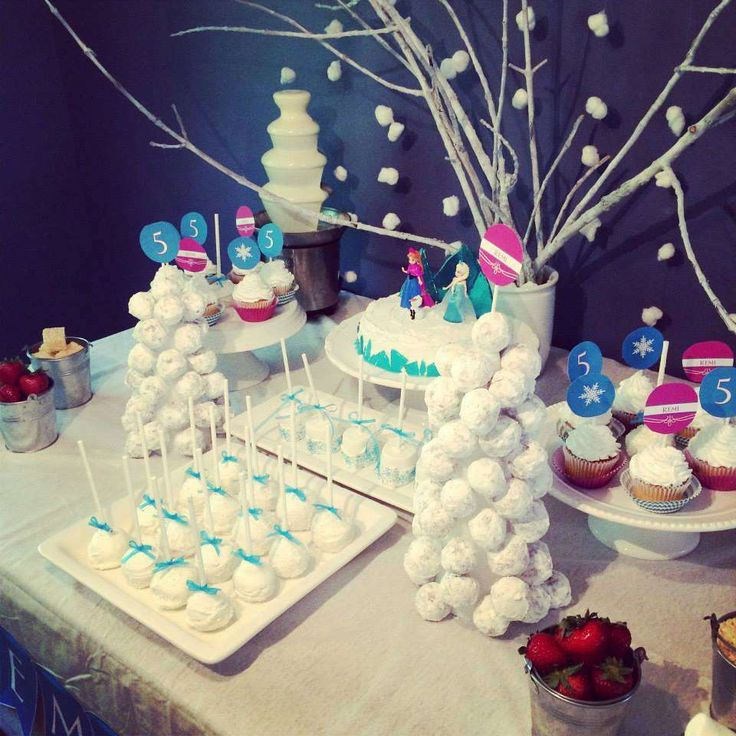 Pretty Frozen girl birthday party dessert table!  See more party ideas at CatchMyParty.com!