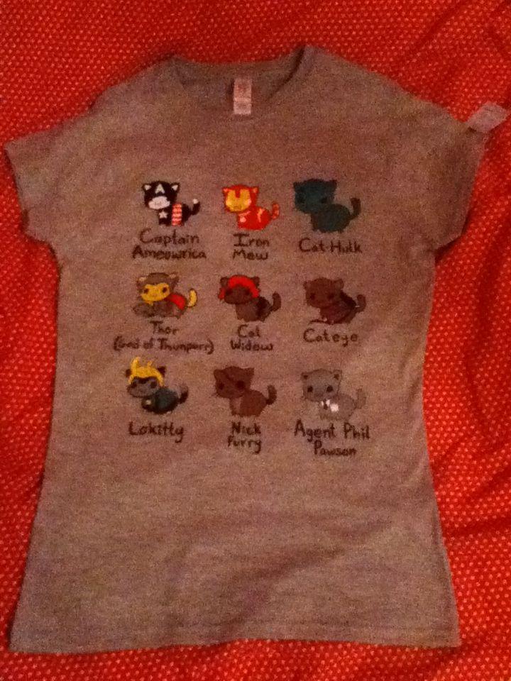 Avengers as cats t shirt captain ameowica iron mew cat for Hulk fishing shirts